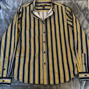 Forever 21 Mens Stripped Button Up Long Sleeve